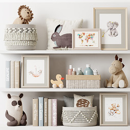Deco - Kids Room Decor 05 With Plush And Wooden Toys , Basket With Bottles And Towel , Pillow ,Pictures And Books.jpg