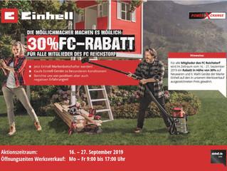 Herbst-Rabatt-Aktion bei Fa. Einhell für FC Reichstorf Mitglieder