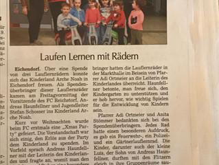 FC Reichstorf unterstützt den Kindergarten Arche Noah in Eichendorf