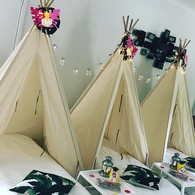 Our tee pees in paradise 🌴☀️💖 #childrensparty #kidspartyinspiration #kidspartyideas  #teepeeparty