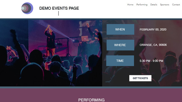 CGA WebConcepts Original Design | Demo of events Page | Wix
