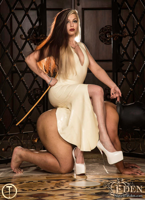 Denver Mistress Devi using her BDSM Protocol trained slave as a seat