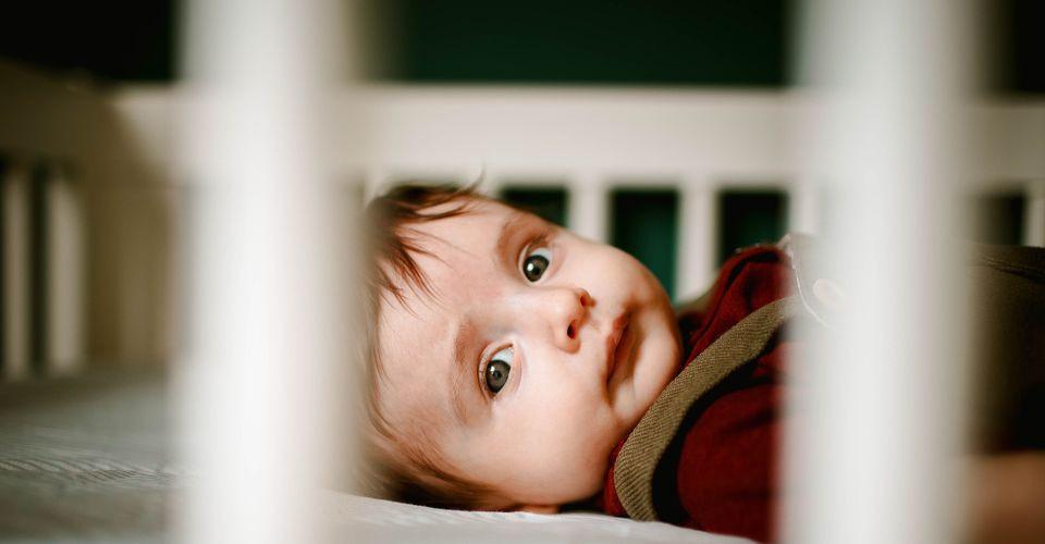 Baby in crib.