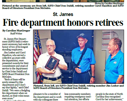 St. James Fire Department Honors Retirees