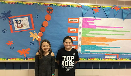 Students in front of B the Change Bulletin Board
