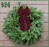 Wreath with Burgundy Ribbon