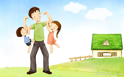 Father with two kids