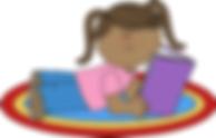 girl reading on rug