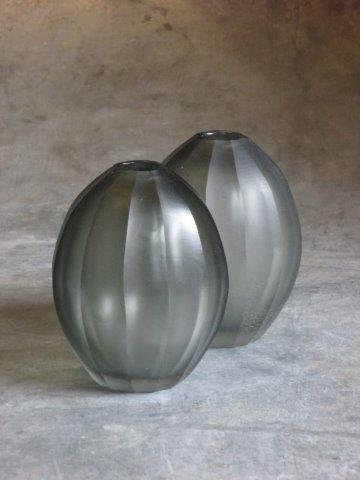 CARVED GLASS VASE GREY