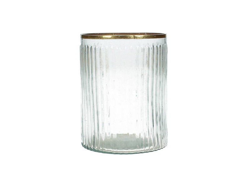 CANDLE HOLDER GLASS CLEAR GOLD