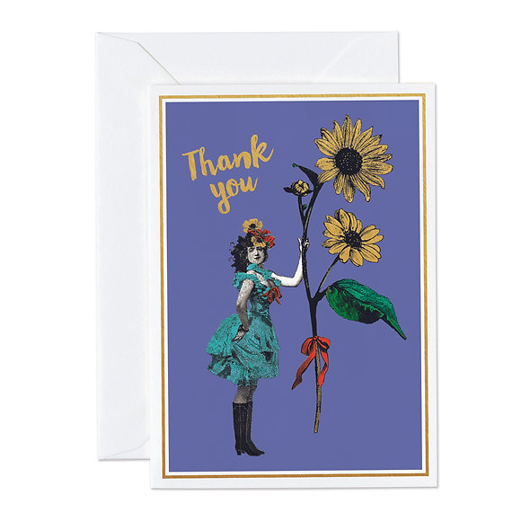 THANK YOU LADY WITH FLOWER GOLD FOIL