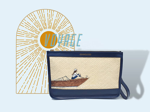 Voyage Navy ColourGenuine Leather Clutch with Figure
