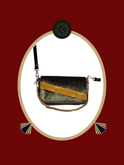 Memduha in Olive Velvet Evening Bag