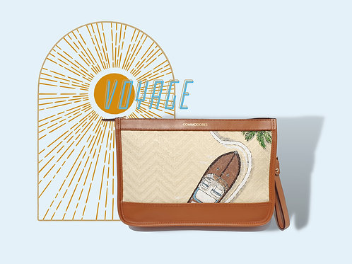 Voyage Brandy Colour Real Leather Clutch with Boat Illustration