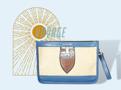 Voyage Sky Blue Clutch with Vintage Speedboat Illustration