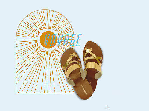 Voyage Hand Made Genuine Leather Sandals  in Gold Color
