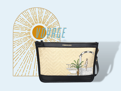 Voyage Black Leather and StrawClutch with Figure Illustration
