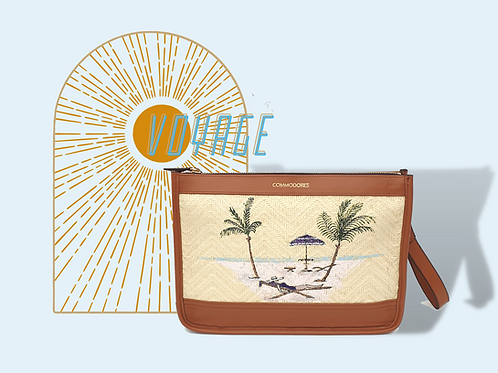 Voyage Brandy Colour Genuine Leather and Straw  Clutch with Figure Illustration