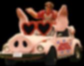 Parody writer Thomas Hagey in his Pigmobile during Hams Across America Tour