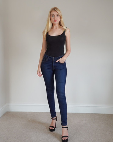 """Stats:  Height - 5'8"""" Chest - 34C Waist - 24"""" Hip - 34"""" Shoe - UK 5/US 7 Dress - UK 6/US 2  Fun Facts: CC is an actress in good standing with SAG-AFTRA, and has dual citizenship, German and American, so she can work anywhere within America, the UK, and EU!"""
