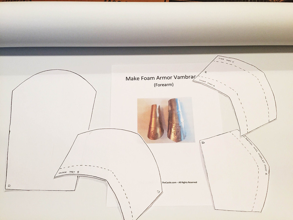 In this post, we'll be making bracers/vanguards/armor for your forearms. I am basing my bracers off of a pattern from Storm the Castle, he has a bunch of FANTASTIC and very simple projects that are perfect for beginners (which is what I am!)