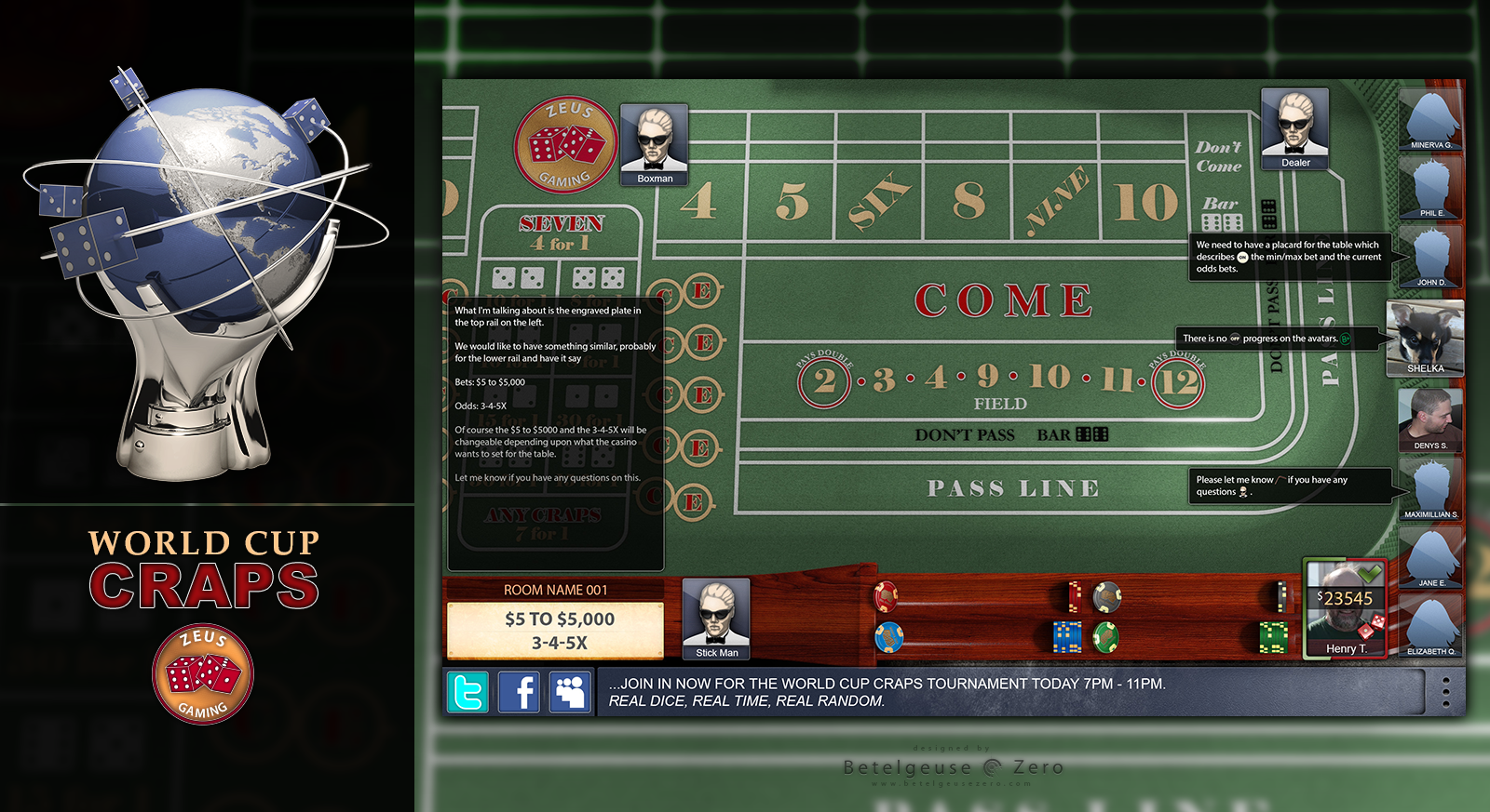 Craps Tournament Game app design