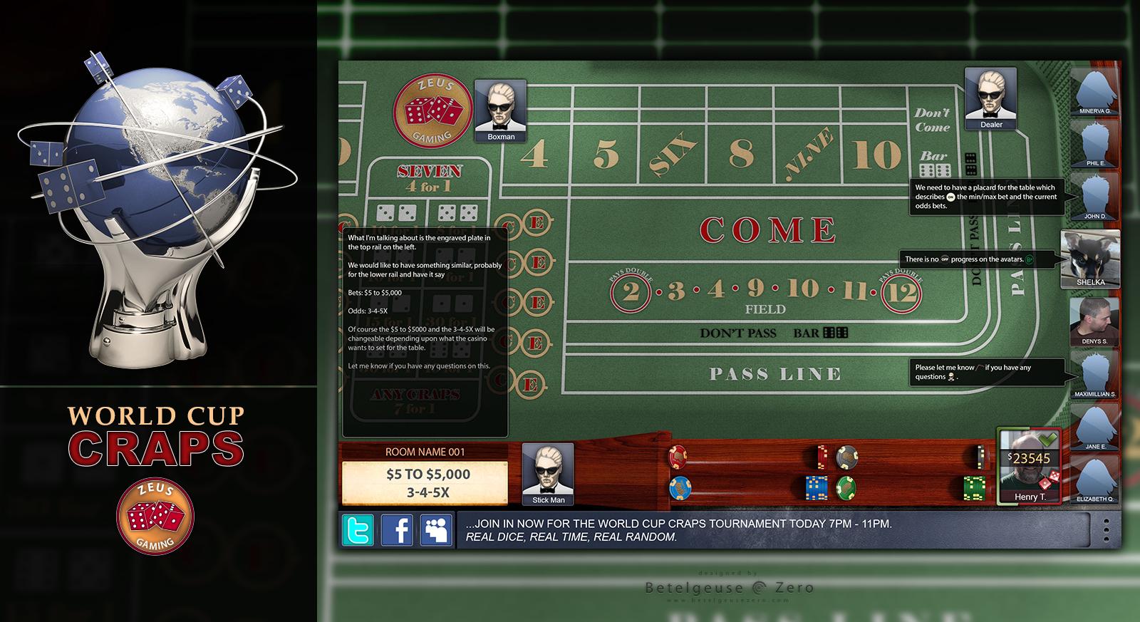Craps Tournament Game app design