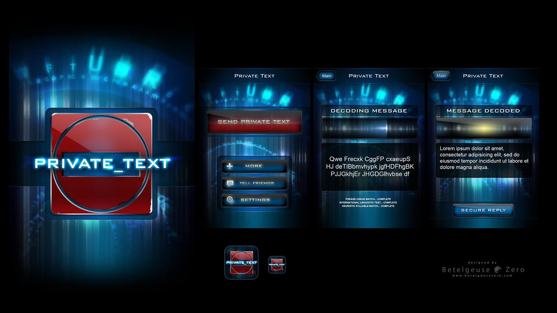 Private Text app UI design