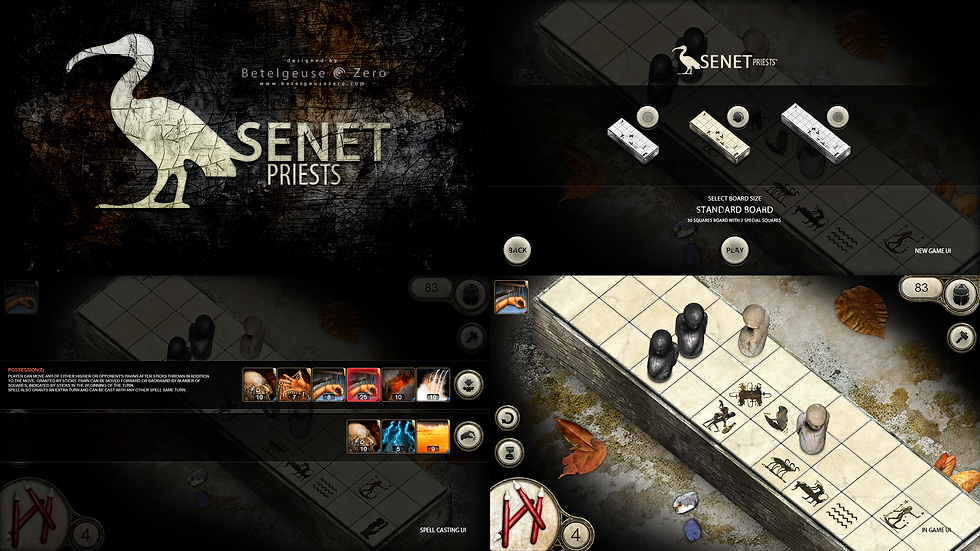 Senet: Priests board game - UI, board, spells screenshots and art