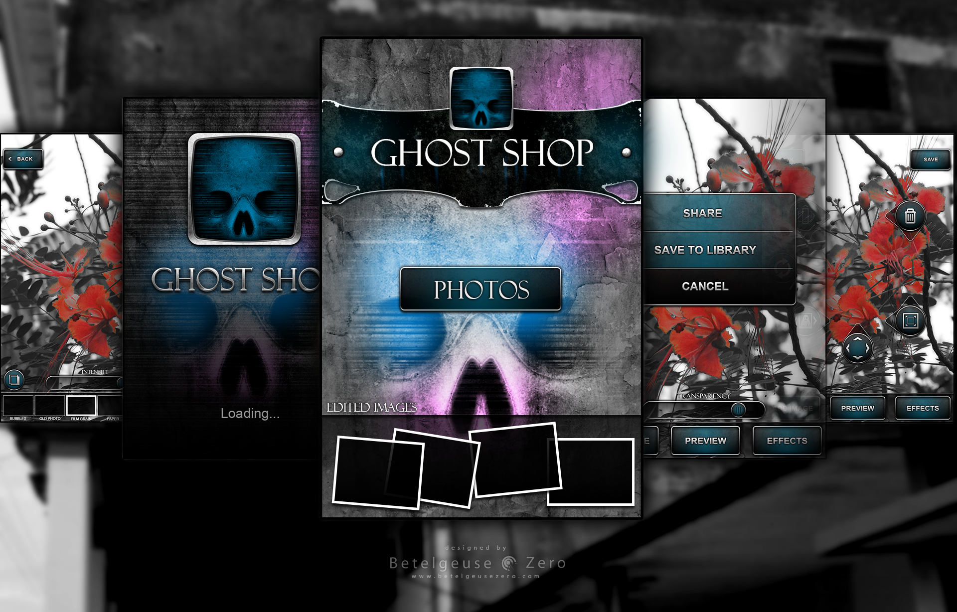 Ghost Shop app UI design