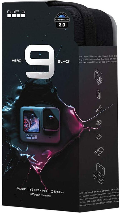 Câmera GoPro HERO9 Black à Prova D'água com LCD Frontal,