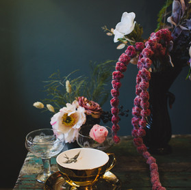 Dark and Moody.  Faux florals Immortal Botanica.