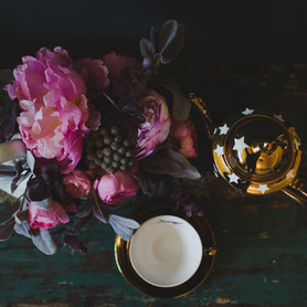 Vintage swan and Rockett St George teapot and cup.  Florals by Immortal Botanica.
