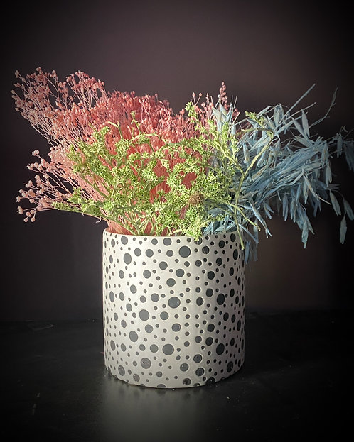 'Miami' pastel dried florals in a spotted ceramic vase