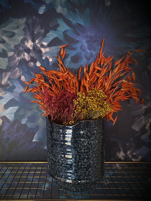 Blue short/wide ceramic artisan vase or planter