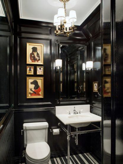 moody bathroom dark powder room artwork bath chandelier