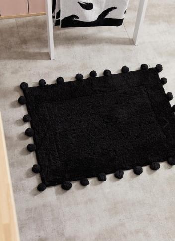 ASOS Supply pom pom black bath mat