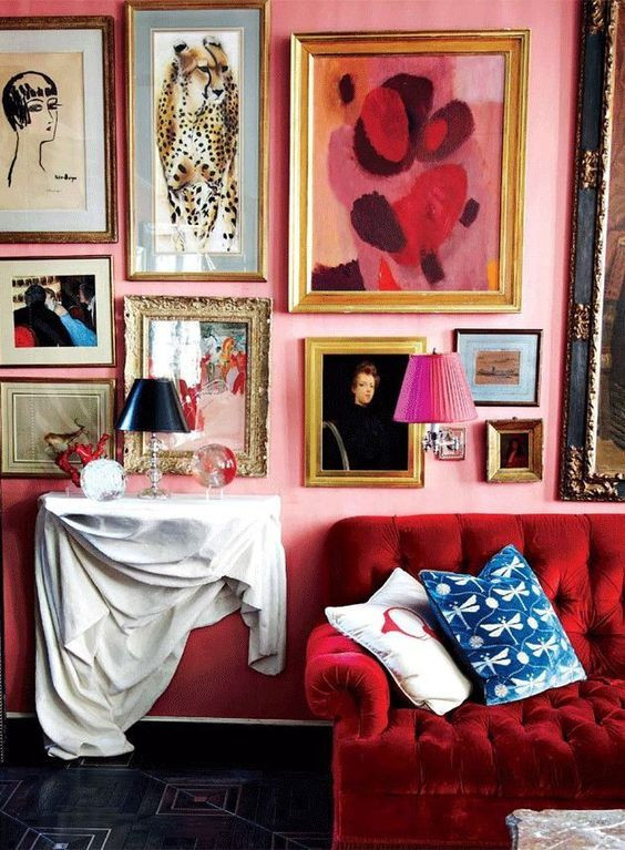 Photo art gallery wall in a pink maximalist living room