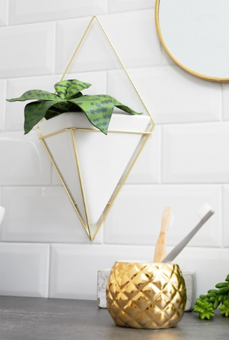 Asos gold triangle geometric wall planter