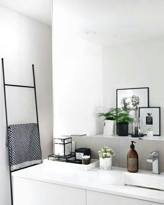 calming calm bathroom all white black details bath art artwork