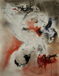 Reclined figure Drawing with sewing marks and gesso