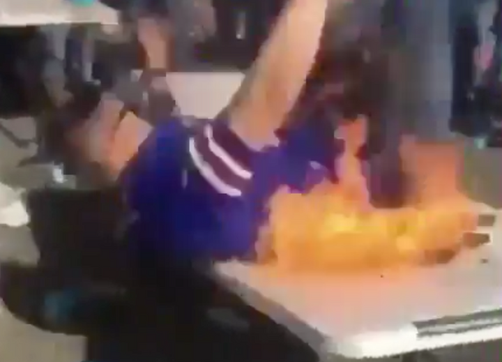 Yes a Buffalo Bills Tailgating Fan Did a Burning Table Spot and it Didn't End Well