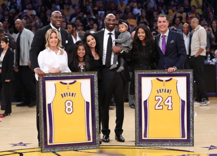 Kobe Bryant's Jerseys Retired, is he on the NBA's Mt. Rushmore?
