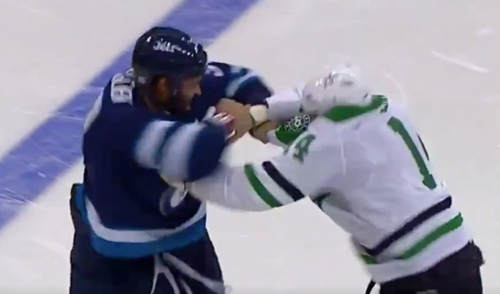 Hockey Fight: Stars Capt. Jamie Benn and Jets Dustin Byfuglien Drop Gloves
