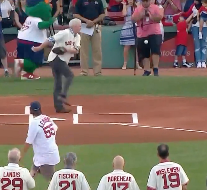 Wild 1st Pitch at Red Sox Game Nails Photographer in The Family Jewels