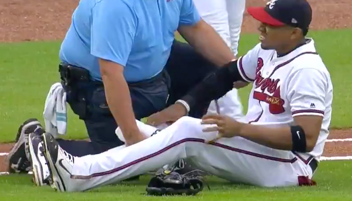 Yes Really: Braves SS Injures Knee Running Onto Field