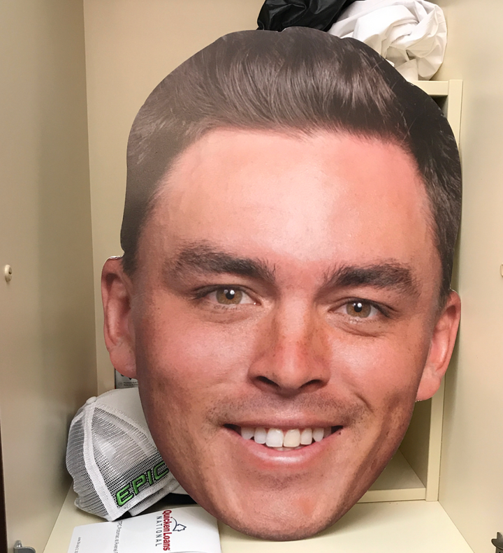 Giant Ricky Fowler Face in Danny Lee's Locker is Oh So Scary