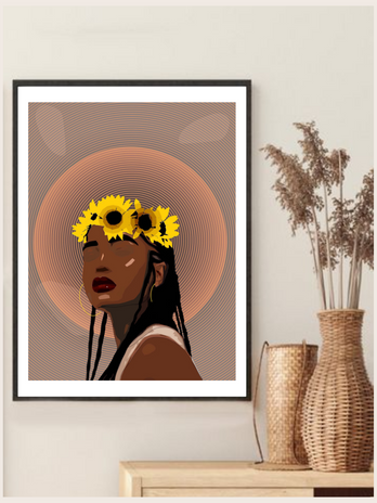Crown of Flowers Wall Art Print - Gifts for black women by Noir Cards