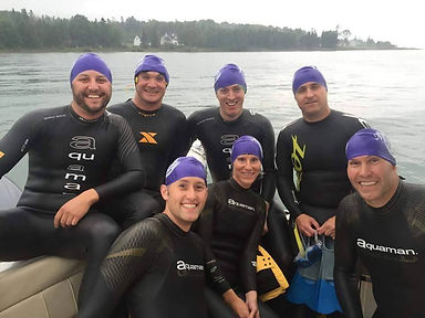 Athletes ready to swim the Straits of Mackinac in the Mighty Mac Swim