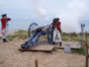 Cannons are fired from two historical forts near Mighty Mac Swim course